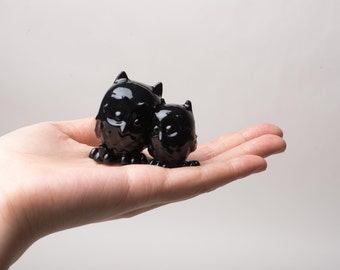 Cuddling Owls, Cute, Adorable, 4th July,3D printed Owls, Black and White, cuddling, figurine, Miniature, home decor, office decor