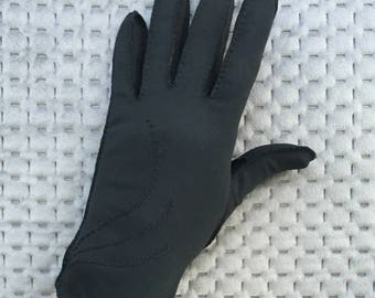 Vintage Gloves Black With French Knot Pattern