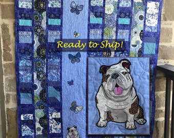 Bulldog with Dahlias Quilt, English Bulldog Quilt, Throw Sized Quilt, Bulldog Gift, English Bulldog Home Decor