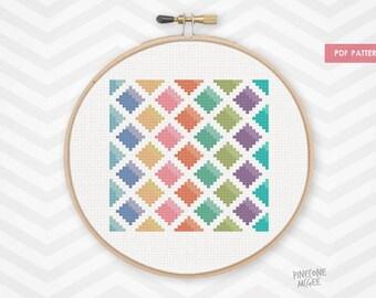 WATERCOLOR DIAMONDS counted cross stitch pattern, modern geometric xstitch pdf