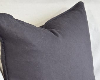 Dark Grey Linen Pillow Cover with flange, Linen Pillow Cover, Toss Cushion, Natural, Rustic Pillow, Cottage Style, Contemporary pillow