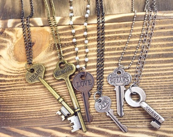 Vintage Style Key Necklace | Word Necklace | Silver and Gold Keys | Word Jewelry | Love, Journey, Memory Necklace | Free Shipping