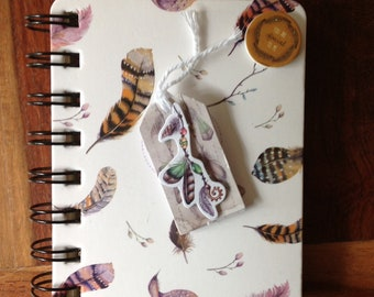 Small spiral notebook, decorated on the theme of feathers, mother's day gift, happy mother's day gift idea