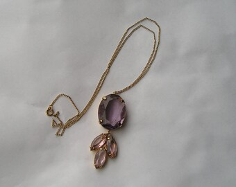 Pretty Open Back Purple Glass Pendant Necklace