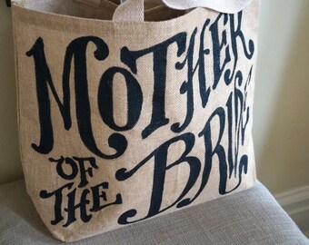 """Custom Quote Burlap Tote 16"""" - mother of the bride - wedding - monogram"""
