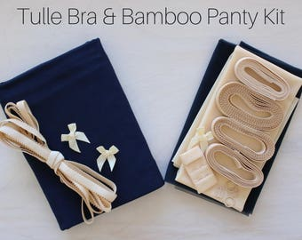Midnight Tulle/Bamboo Bra & Panty Kit! Includes FREE Underwires!