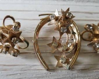 Vintage Brooch and Earring Set