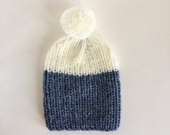 Cosy Ribbed Knitted Handmade Hat in Navy Blue & White with detachable Bobble / Two Coloured Pom-pom Beanie