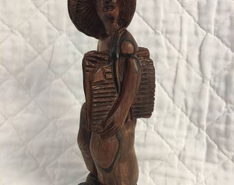 """Rare Brazilian Hand Carved (Rosewood?) Paper Boy Figurine Exceptional 11"""" x 3"""""""