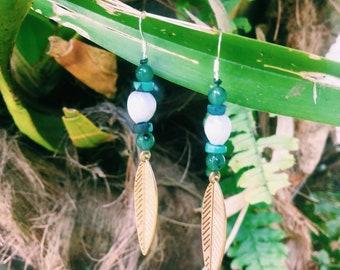 Sterling Silver Aventurine*Turquoise Jobs tear earrings