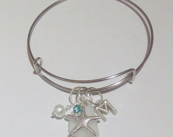 Personalized bangle - Initial bracelet - Monogram bangle - Sea glass Jewelry.