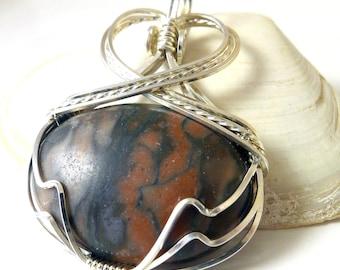 Jasper and Sterling Silver Pendant