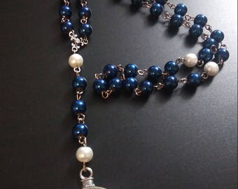 Rosary Style Clock Charm Necklace