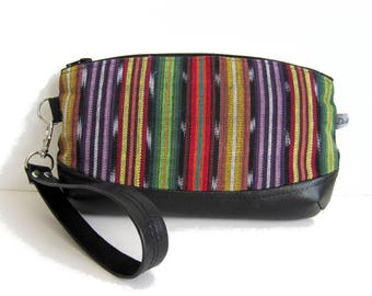 Hand clutch with removable strap, black faux leather and ethnic fabric