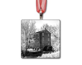 Graue Mill in Oakbrook - Handmade Glass Photo Ornament