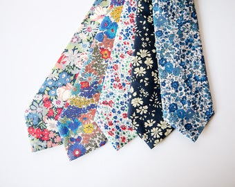 Blue Floral Tie, Liberty of London tie, blue necktie, custom ties, custom wedding necktie, custom necktie, navy blue necktie, navy blue tie
