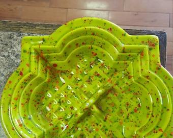 Retro 70s green speckled ashtray