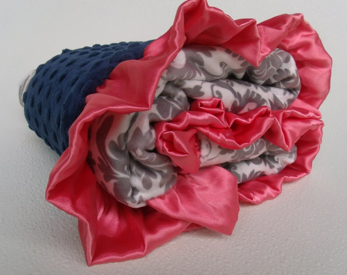 Coral, Navy Minky Dot with Gray Damask  Blanket, Navy Coral Gray Minky Baby Blanket, Coral and Gray Damask, Salmon Navy Baby Blanket