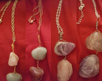 Wire wrapped double stone necklace