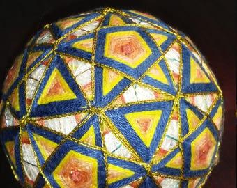 Triangle Star Blue and Yellow Temari