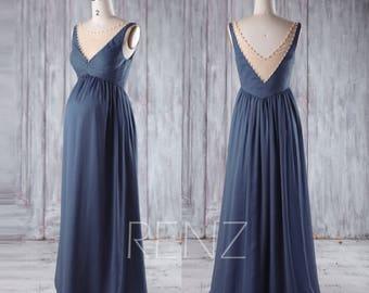 Maternity Bridesmaid Dress,Dark Steel Blue Chiffon PregnancyDress,V Neck Beaded Maxi Dress,Sleeveless PlusSize Baby Shower Dress(HM387)