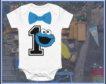 Cookie Monster 1 year old baby Onesie. Baby Suite Funny onesie Baby Gift Onesie, Printed on 100% Cotton White Onesie