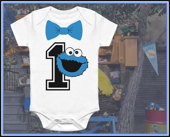 Cookie Monster 1 Year Old Baby Onesie. Baby Suite Funny Onesie