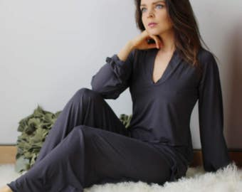 womens bamboo pajama set including tunic and lounge pants - ready to ship - size XS - purple