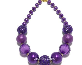 Toddler or Girls Pretty in Purple Chunky Necklace - Purple Princess Necklace - Shade of Purple Necklace - Purple and Gold Chunky Necklace