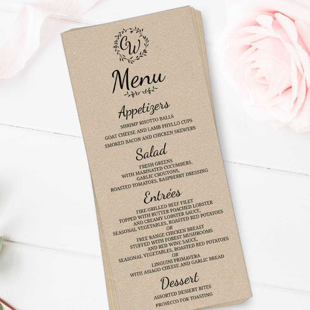 Rustic Wedding Menu 4x9 10 Wedding Menu Cards
