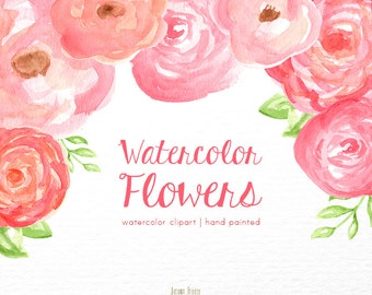 Floral Watercolor clipart, flower clipart, pink clip art, flowers, digital clipart, lovely clipart, pink clipart