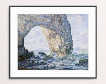 Claude Monet - La Manneporte, Étretat, 1883  - French Impressionism - Monet Print - Monet Art - Monet Painting - Monet Ocean - Monet Beach