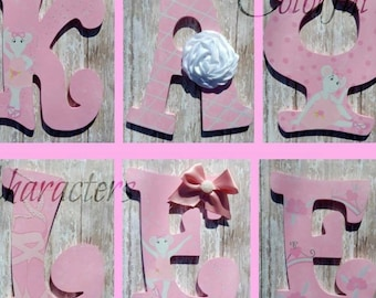 Ballerina letters, Angelina ballerina, hand painted,  wall letters, girls room decor, made to order, embellishnents