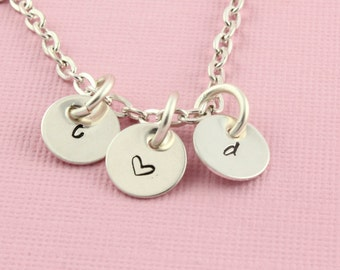 SALE - Initials and Heart Necklace - Silver Necklace - Handstamped Personalized Necklace - Mother's Day Gift for Mom or Grandma