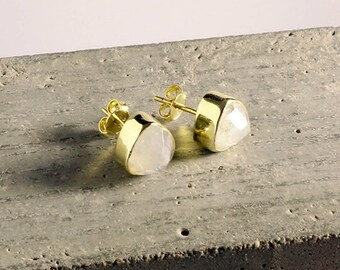 Moonstone Gemstone Earrings, Moonstone Studs, June Birthstone Earrings, Moonstone Studs, Gold Studs, Triangle Earrings,
