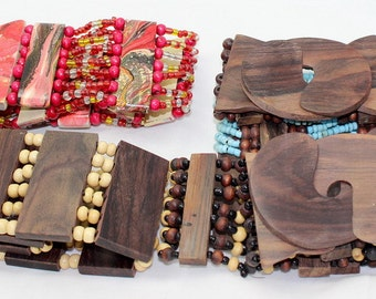 Brown white  wood color Elastic Wooden Bead Belt,  Handmade Elastic Belt With Natural Wood Buckle, amazing colors, boho