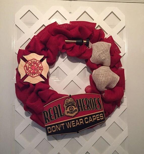 Firefighter Gifts - Firemen Gifts - Firemen Burlap Wreath - Firehouse Gifts - Firehouse Decor - Firemen Decor - Heroes Wreath - Door Decor