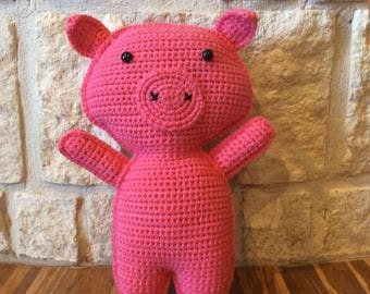 Crocheted Pig-Crocheted Pig Ragdoll-Crocheted Farm Animal-Crocheted Pig Plushie-Crocheted Pig Stuffed Animal