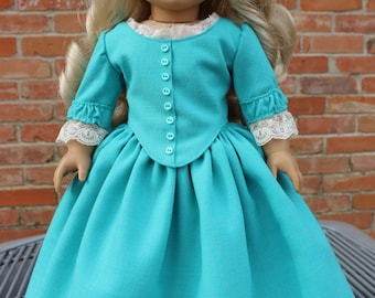 "18"" Doll Clothes Historical 1700's Style Gown For Spring Fits American Girl Felicity, Elizabeth, Caroline"