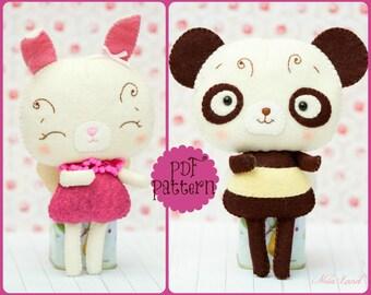 PDF. Beebear and Bunnybutter tutorial. Plush Doll Pattern, Softie Pattern, Soft felt Toy Pattern.