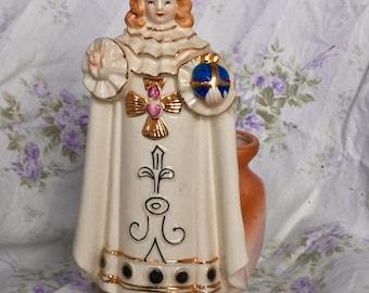 Mid Century Infant Jesus of Prague Planter Statue Vase Pen Brush Holder