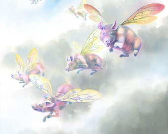 """Flying pigs! - """"The Pigs of High Ham"""" - art print from a painting by Nancy Farmer. Fairytale, clouds, bumblebee wings, sky."""