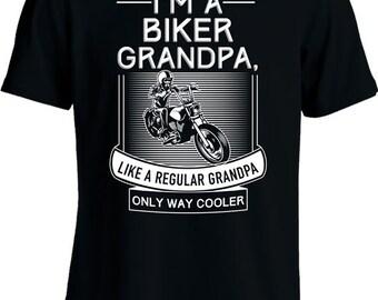 Funny Motorcycle T Shirt Gifts For Grandpa I'm A Biker Grandpa T Shirt Motorcycle Gifts Grandfather Tshirt Joke Mens Tee MD-474