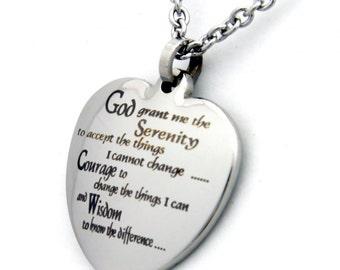 Serenity Prayer Pendant Stainless Steel Heart Necklace, Serenity Prayer Gifts, Necklace For Women, Gifts For Women