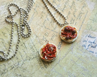 Spaghetti on a Plate Necklace, Miniature food jewelry