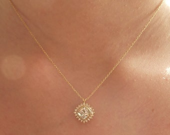 Antique Square Moissanite and Diamond Necklace - Deposit