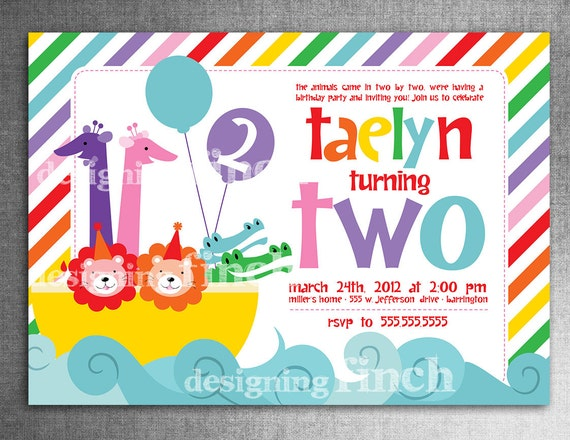 Noahs Ark Rainbow Birthday Invitation 2nd Birthday