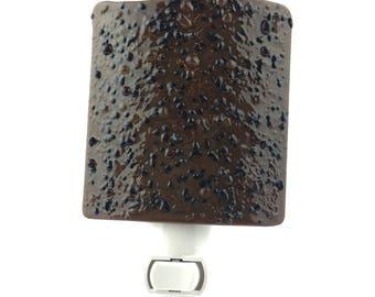 Night Light, Dark Brown and Black, Textured Art Glass