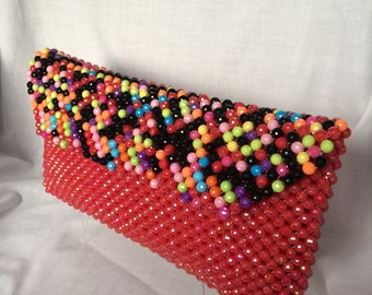 Red Beaded African Clutch Bag/ Pochette Africaine