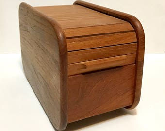 "Vintage Teak Tech tambour rolltop storage box with dividers, c1980s, 3"" floppy disks"